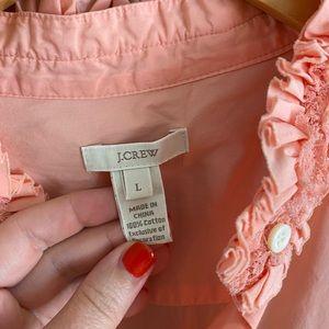 Pink JCrew Shirt with Ruffle Neckline